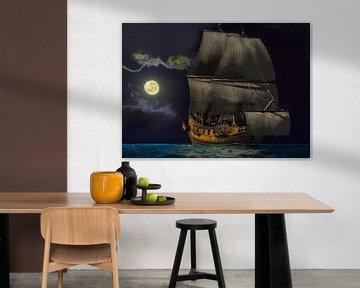 Zeilschip bij maanlicht van Lutz Roland Lehn