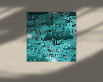Falling Bats Grunge Aqua von Nicky`s Prints