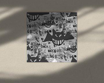 Falling bats Grunge Black&White von Nicky`s Prints
