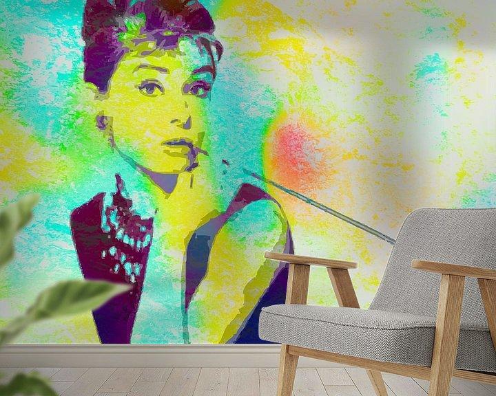 Beispiel fototapete: Audrey Hepburn - Frühstück bei Tiffany's Vector Art Portrait in Blau, Grün, Orange von Art By Dominic