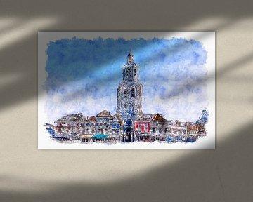 De Peperbus op de Grote Markt in Bergen op Zoom (aquarel) van Art by Jeronimo