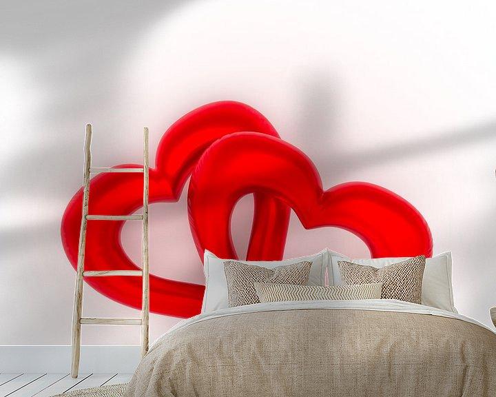 Sfeerimpressie behang: Twee rode ballonharten van Jörg Hausmann
