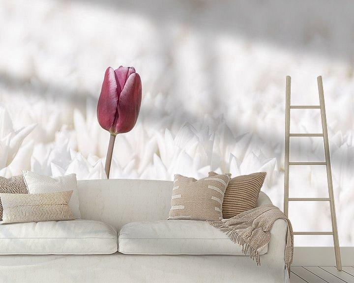 Sfeerimpressie behang: Paarse Lente van Catstye Cam / Corine van Kapel Photography