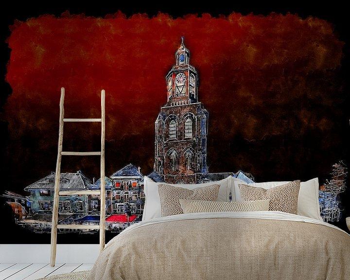 Beispiel fototapete: Der nächtliche Pfeffertopf auf dem Grote Markt in Bergen op Zoom (Aquarell) von Art by Jeronimo