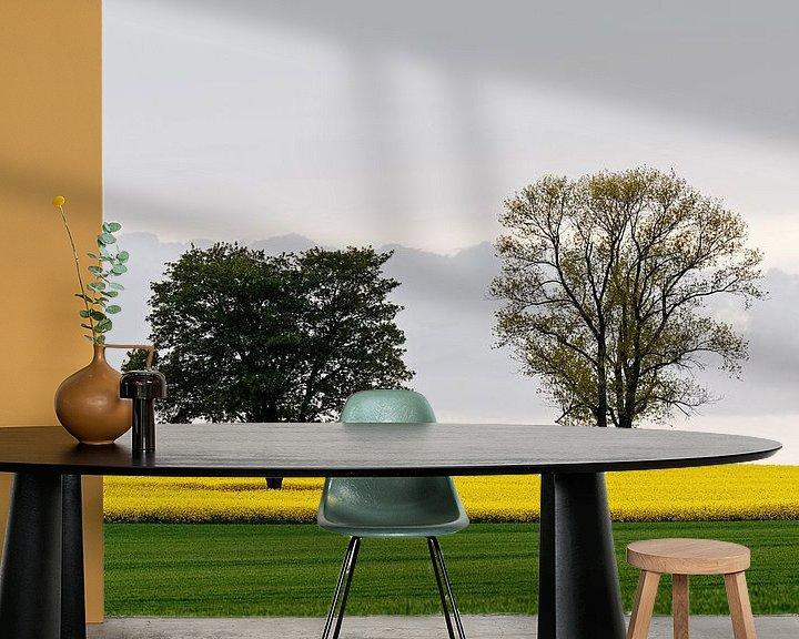 Beispiel fototapete: Zwei Bäume im Rapsfeld von Ralf Lehmann