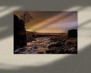 water bij zonsondergang van leon brouwer