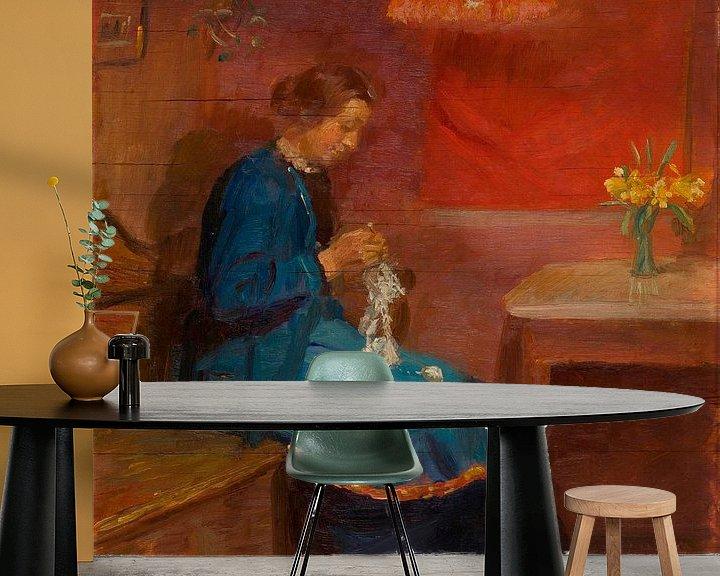 Beispiel fototapete: Frau mit ihrer Handarbeit, Anna Ancher