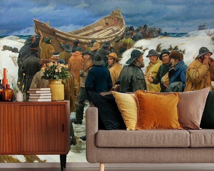 Beispiel fototapete: Das Rettungsboot wird durch die Dünen gebracht, Michael Ancher