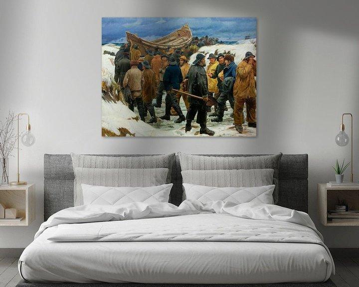 Beispiel: Das Rettungsboot wird durch die Dünen gebracht, Michael Ancher