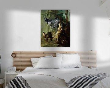De Zak - een dood hert, twee valken en een reiger, Jean-Baptiste Oudry