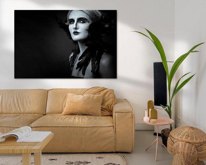 Impression: portrait artistique d'une femme en noir et blanc sur Atelier Liesjes