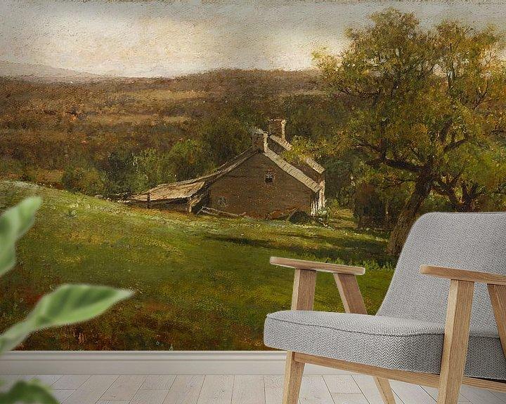 Beispiel fototapete: Landschaft mit Bauernhaus, George Inness