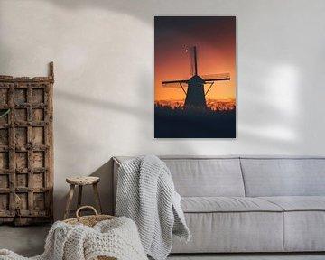 Zonsondergang tussen de molens van Maarten Borsje