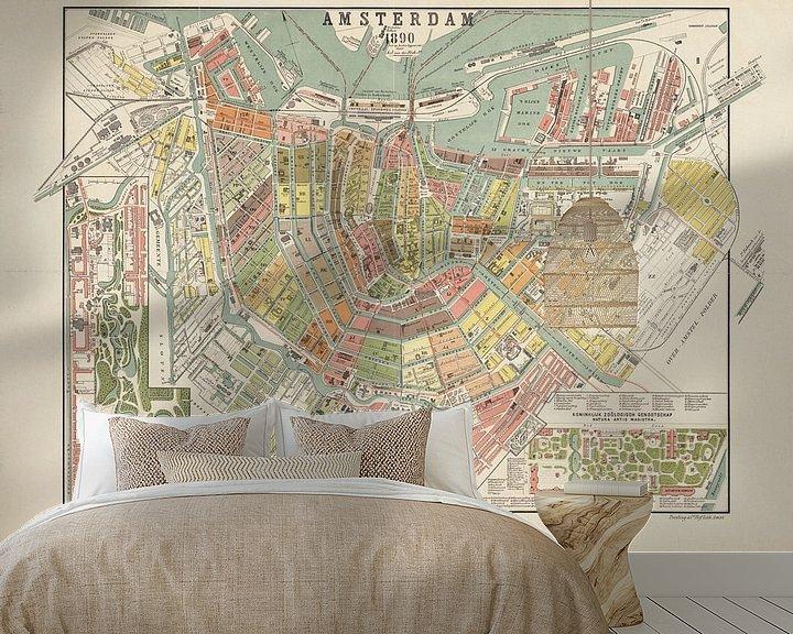 Beispiel fototapete: Karte Amsterdam - 1890