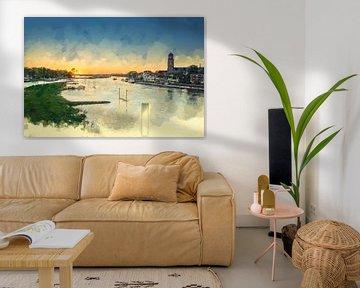 Buntes Gemälde Sonnenuntergang Deventer