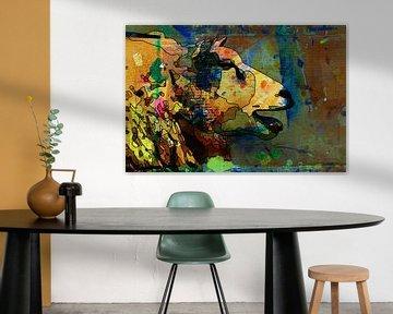 Strichzeichnung eines Schafes mit Farbe auf Karton als Hintergrund von The Art Kroep
