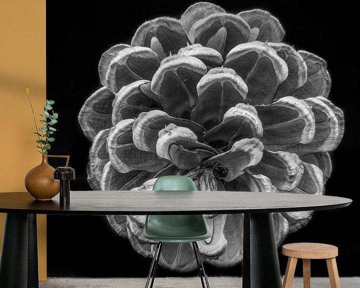 Sfeerimpressie behang: Dennenappel zwartwit van Martijn Tilroe
