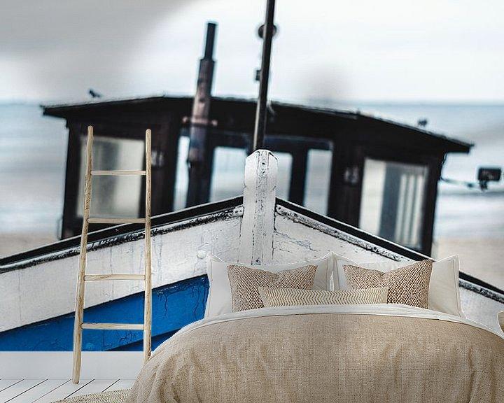 Beispiel fototapete: Blaues Boot an Ostseestrand von Florian Kunde