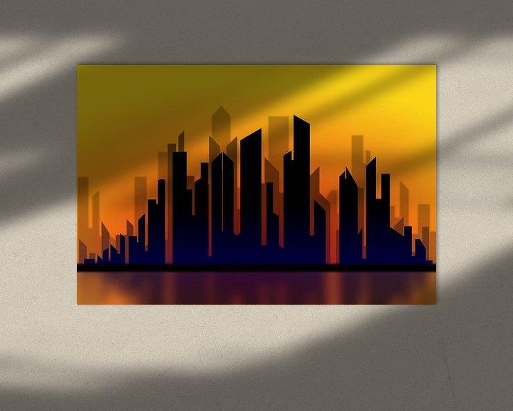 Beispiel: Silhouette des Stadtbildes bei Sonnenuntergang von Drawn by Johan