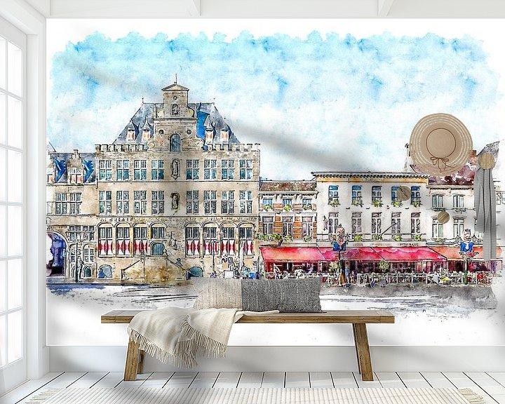 Beispiel fototapete: Das Rathaus und das Grand-Café-Hotel De Bourgondiër in Bergen op Zoom (Aquarell) von Art by Jeronimo