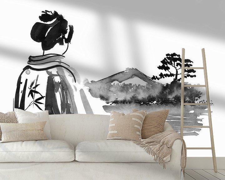 Beispiel fototapete: Die Geisha schaut zu von Péchane Sumie