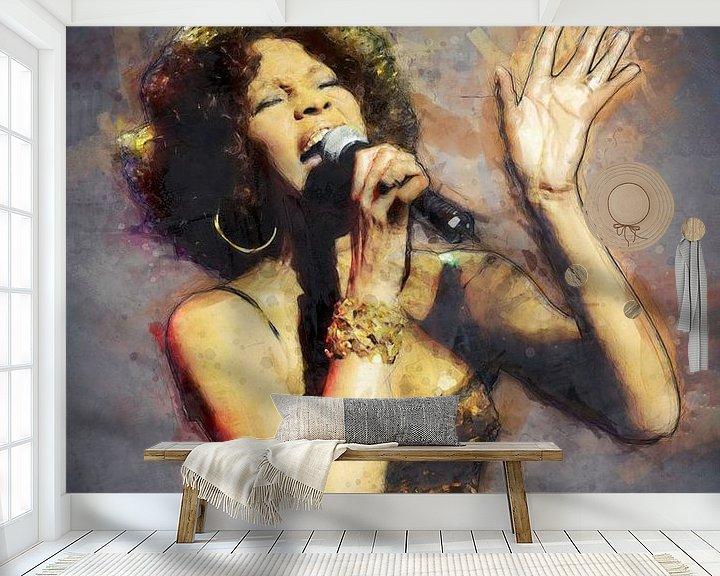 Beispiel fototapete: Whitney Houston Ölgemälde Porträt von Bert Hooijer