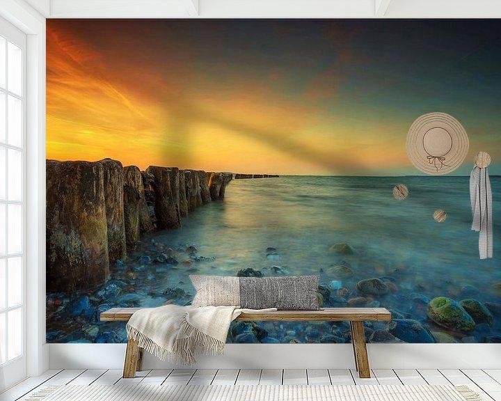 Beispiel fototapete: Buhnen am Meer von Frank Herrmann