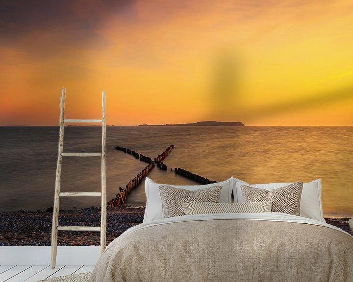 Beispiel fototapete: Buhnen in X-Form am Strand von Frank Herrmann