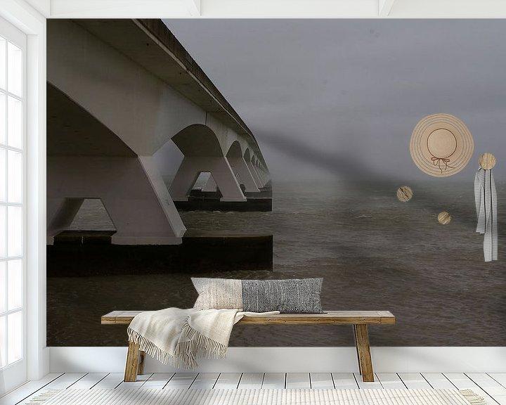 Sfeerimpressie behang: De Zeelandbrug bij Zierikzee. van tiny brok