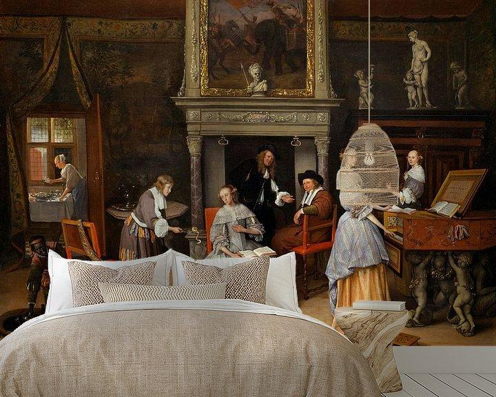 Beispiel fototapete: Fantasy Interior mit Jan Steen und der Familie von Gerrit Schouten, Jan Steen