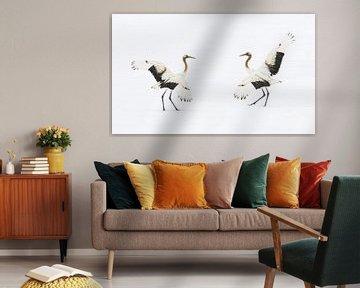 Dansende Japanse Kraanvogels van Harry Eggens