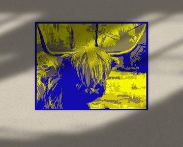Schotse Hooglander abstract en kleurig van Ans Bastiaanssen