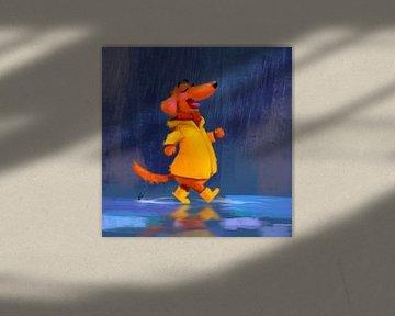 Teckel Tobie wandelt graag in de regen van Linda van Putten
