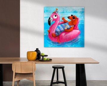 Teckel Tobie dobbert graag op zijn roze flamingo van Linda van Putten
