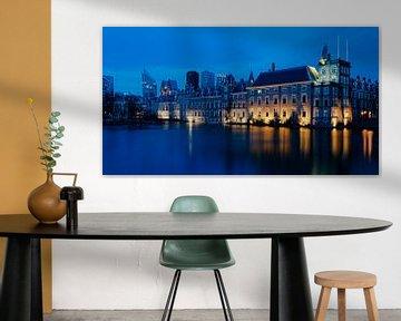 Den Haag hofvijfer in de avond blauwe uur van Marjolein van Middelkoop