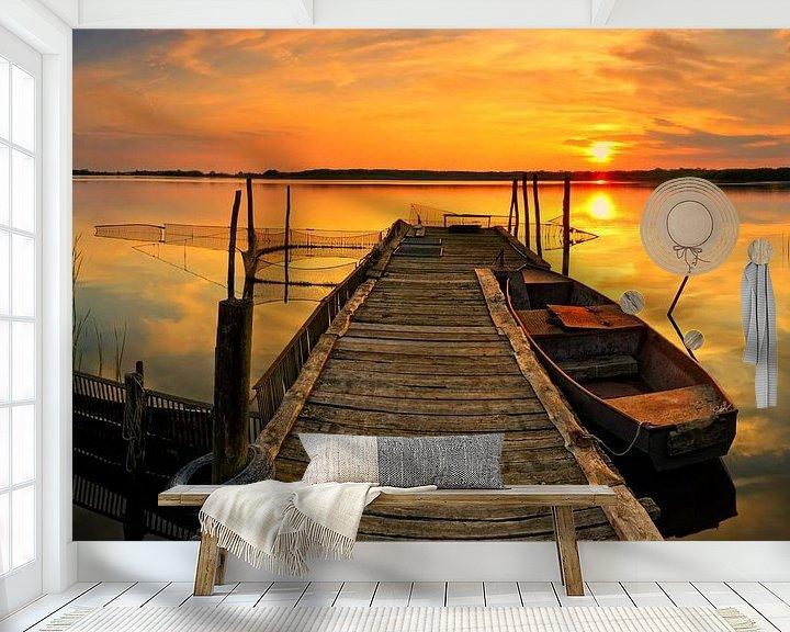Beispiel fototapete: Boot am Steg im Sonnenuntergang von Frank Herrmann