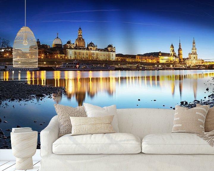 Impression: L'horizon de Dresde à l'heure bleue sur Frank Herrmann
