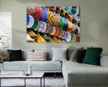 Multi color aardewerk - Marrakech - Marokko van Marianne Ottemann - OTTI