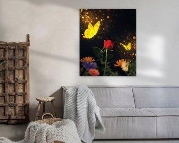 Goldene Schmetterlinge besuchen eine rote Rose von Bert Hooijer