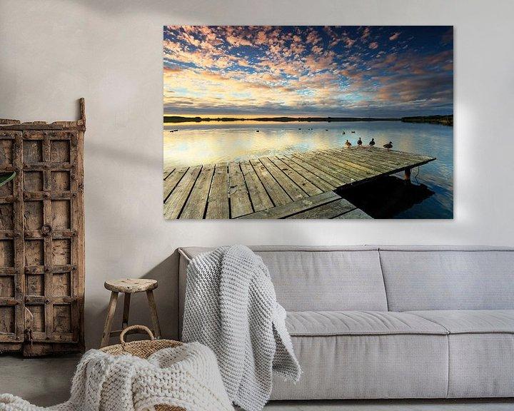 Beispiel: Steg mit Enten im Sonnenuntergang von Frank Herrmann