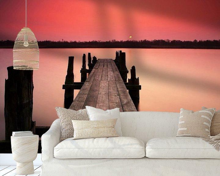 Beispiel fototapete: Steg im Sonnenuntergang von Frank Herrmann