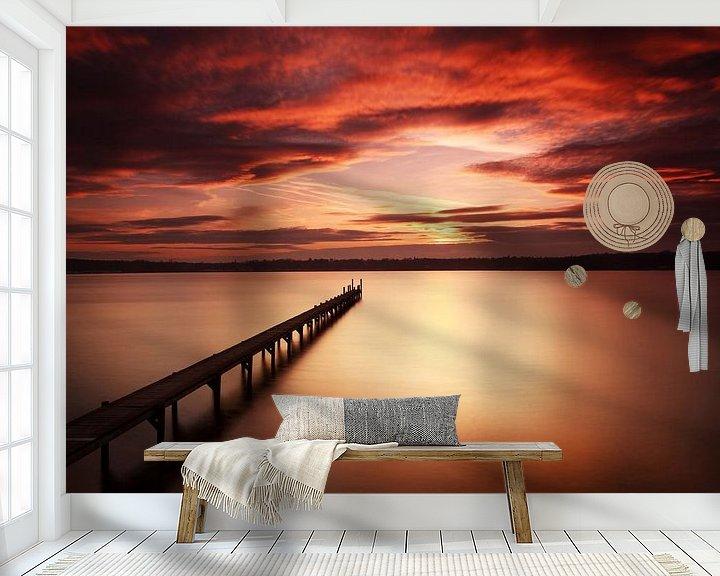 Beispiel fototapete: Langer Steg in den Sonnenuntergang von Frank Herrmann