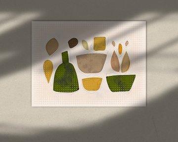 Zusammensetzung mit Flasche und Tabletts von Joost Hogervorst