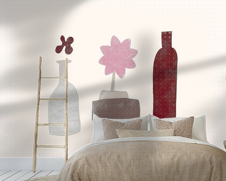 Beispiel fototapete: Stilleben mit Blume und Flasche von Joost Hogervorst