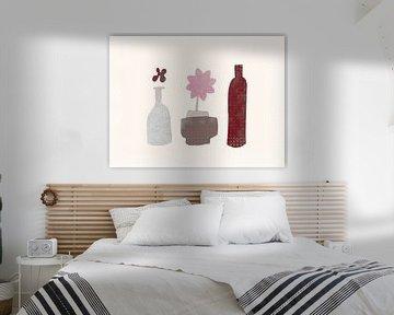 Stilleben mit Blume und Flasche von Joost Hogervorst