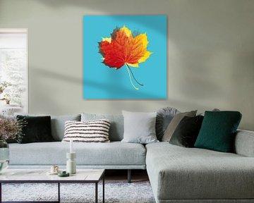 Herbstblätter in Rot und Gelb auf Blau von > VrijFormaat <