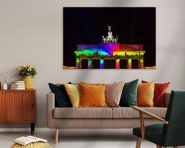 Berliner Skyline auf dem Brandenburger Tor von Frank Herrmann