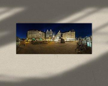 Nikolaiviertel Berlin Panorama in der blauen Stunde