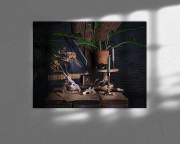 Stilleven met citer en schedels van Anouschka Hendriks