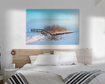 Winter landschap in de mist van Peter Bolman